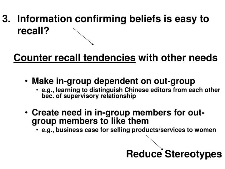 Information confirming beliefs is easy to recall?