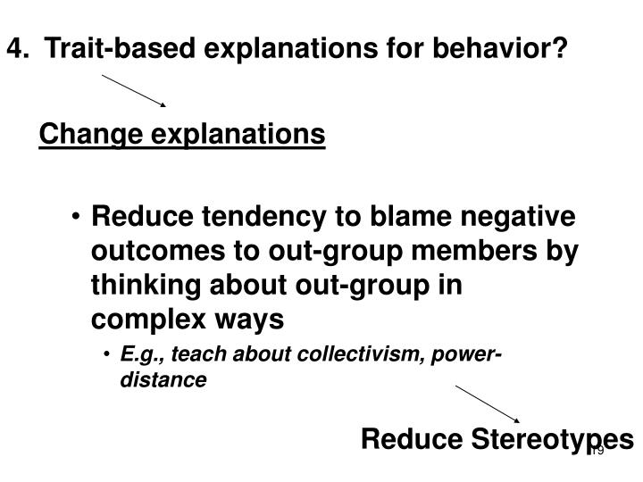 Trait-based explanations for behavior?