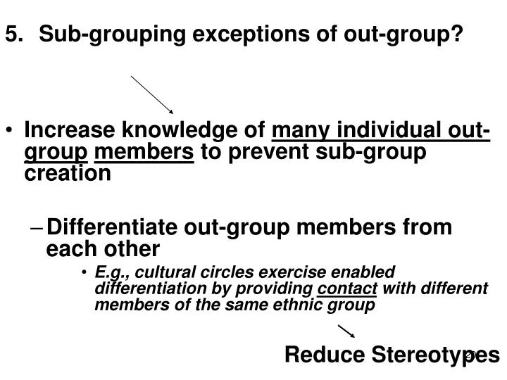 Sub-grouping exceptions of out-group?