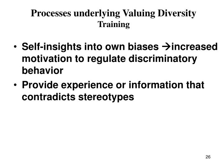 Processes underlying Valuing Diversity