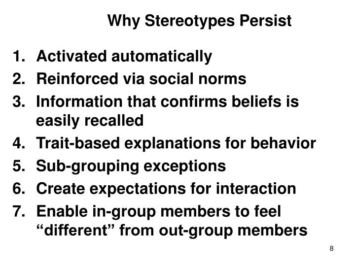 Why Stereotypes Persist