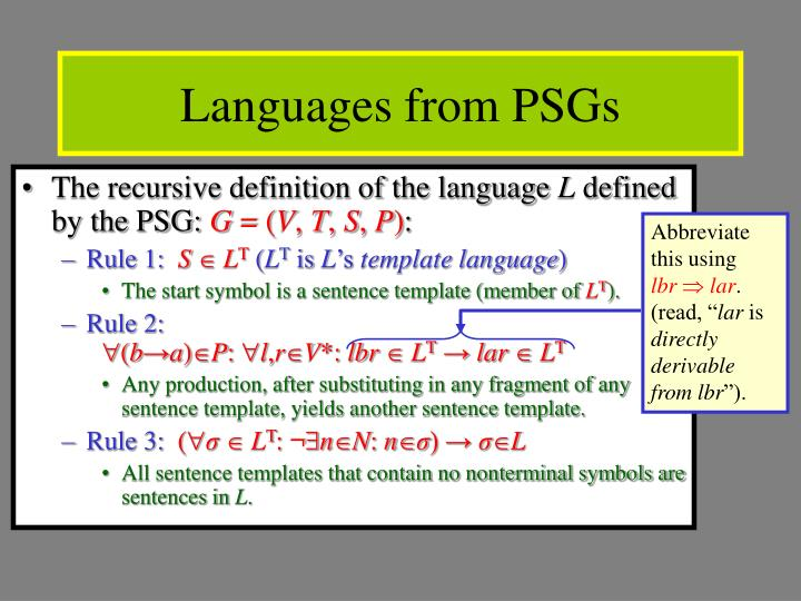 Languages from PSGs
