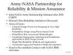 army nasa partnership for reliability mission assurance