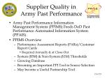supplier quality in army past performance