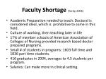 faculty shortage yordy 2006