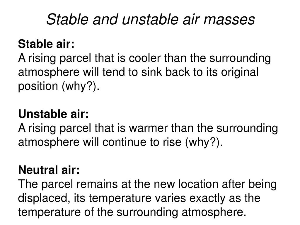 Stable and unstable air masses