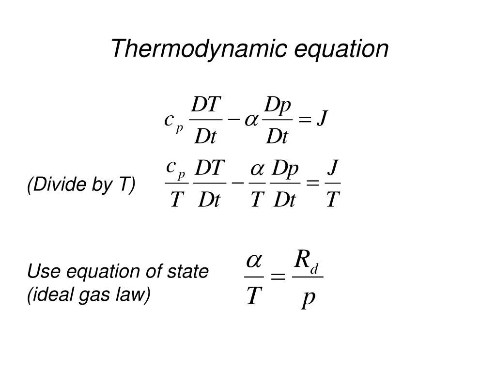 Thermodynamic equation