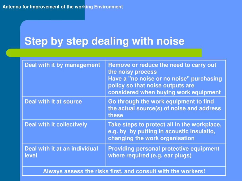 Step by step dealing with noise