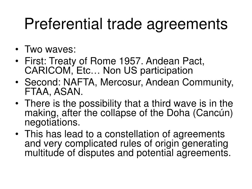 preferential trade agreements essay