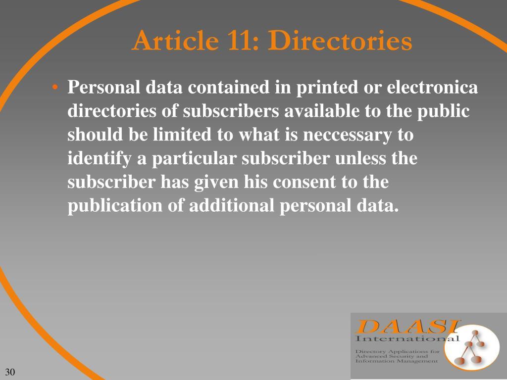 Article 11: Directories