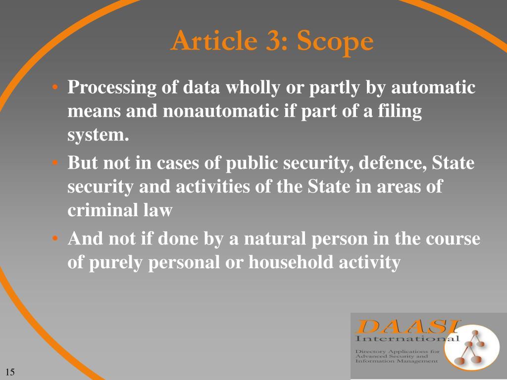 Article 3: Scope
