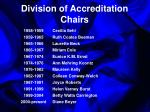 division of accreditation chairs