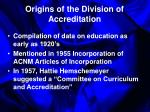origins of the division of accreditation