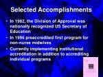 selected accomplishments