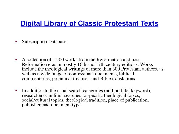 Digital Library of Classic Protestant Texts