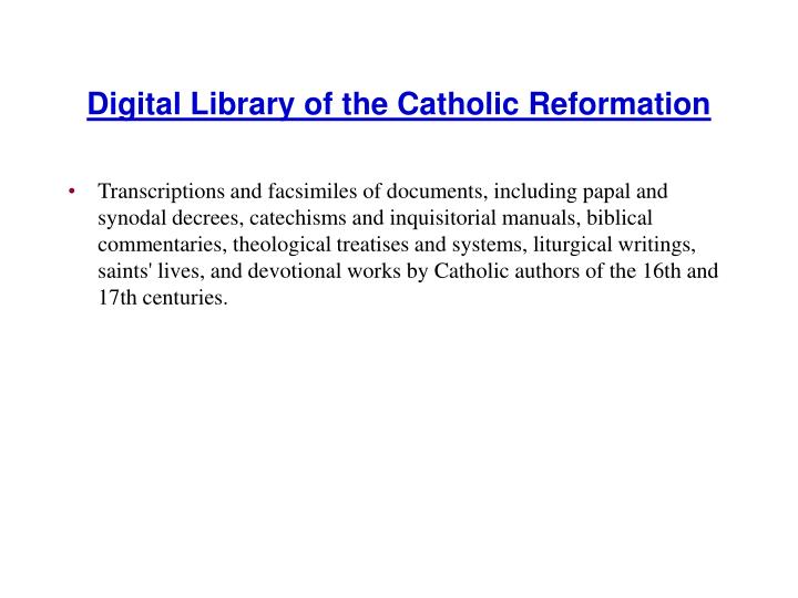 Digital Library of the Catholic Reformation