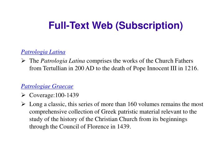 Full-Text Web (Subscription)
