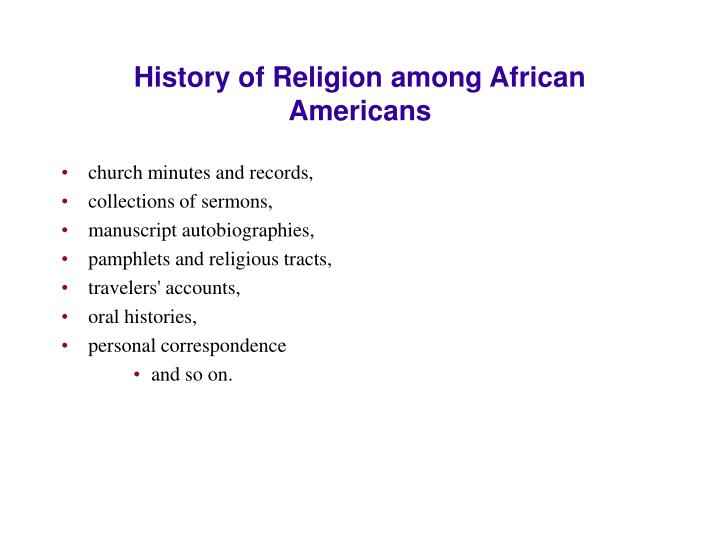 History of Religion among African Americans