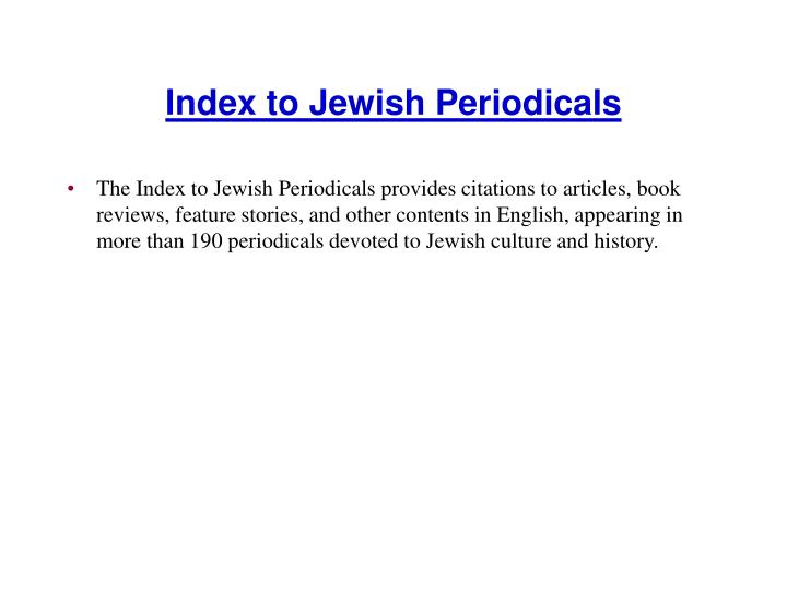 Index to Jewish Periodicals
