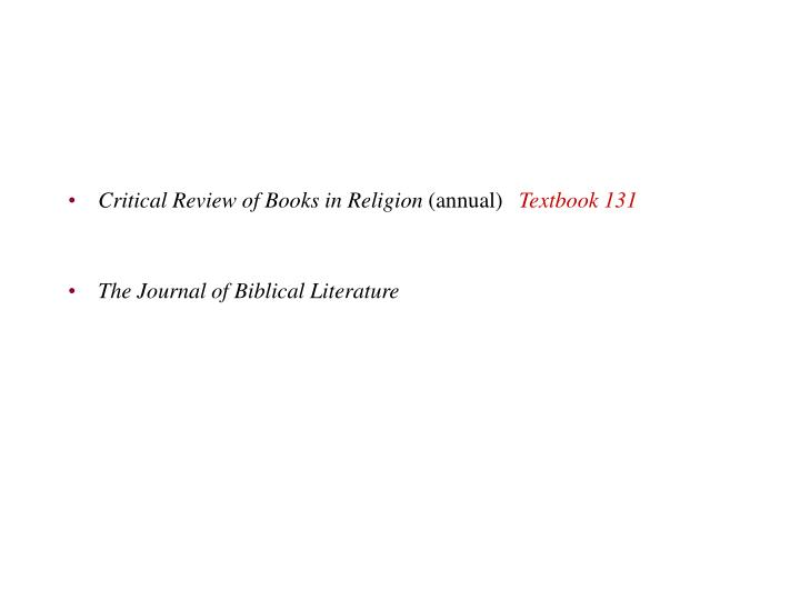 Critical Review of Books in Religion