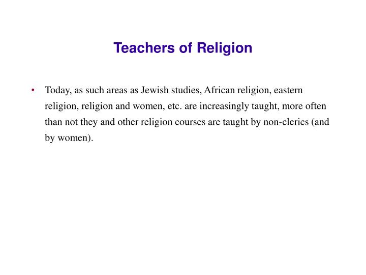 Teachers of Religion