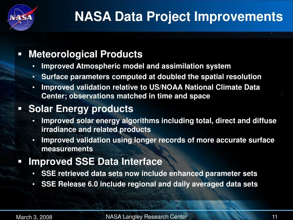 NASA Data Project Improvements