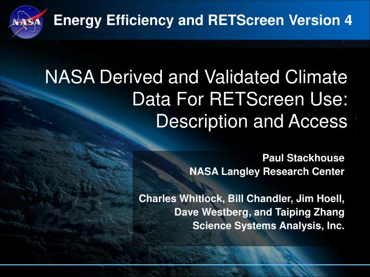 Nasa derived and validated climate data for retscreen use description and access