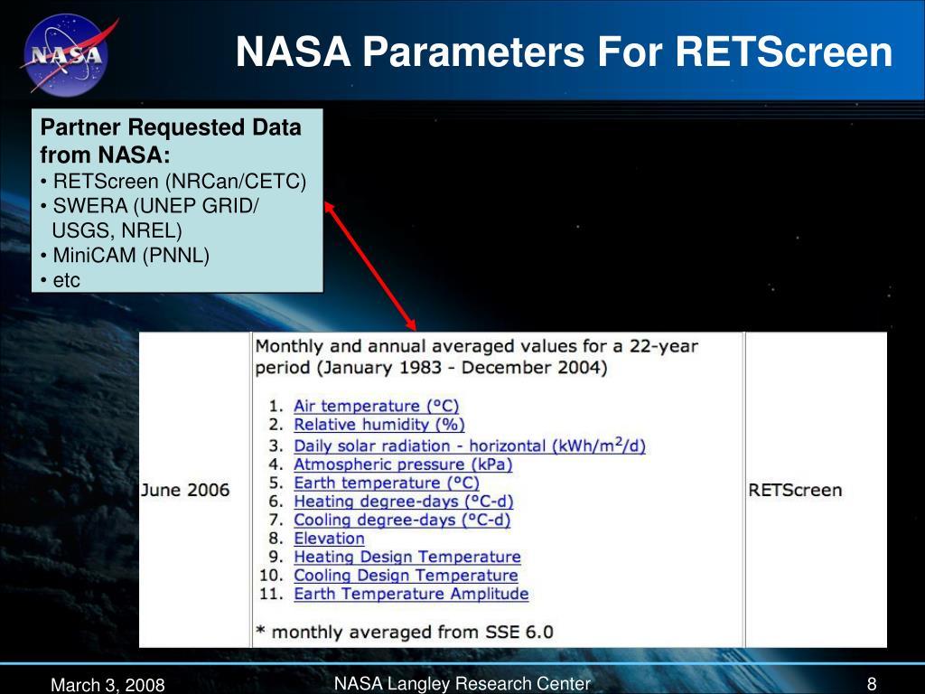 NASA Parameters For RETScreen