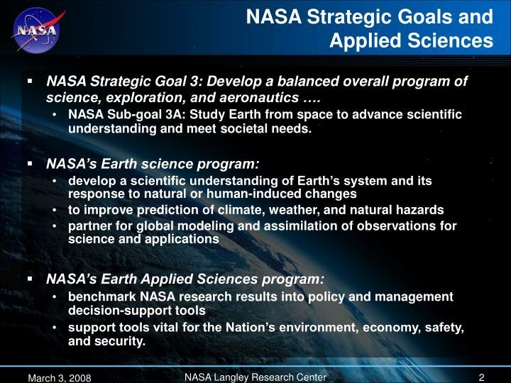 Nasa strategic goals and applied sciences