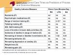 unit level direct care times as predictors of process and outcome measures