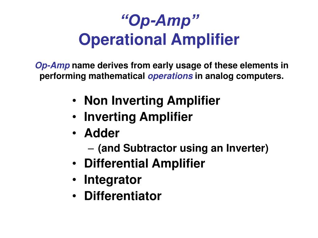 Ppt Op Amp Operational Amplifier Powerpoint Presentation Id250332 Inverting Circuit N