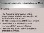 religious expression in australia post 19451