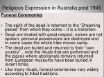 religious expression in australia post 194513