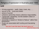 religious expression in australia post 19453