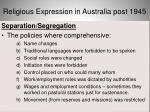 religious expression in australia post 194531