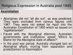 religious expression in australia post 194534
