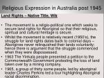 religious expression in australia post 194538