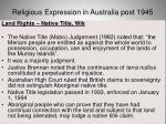 religious expression in australia post 194542