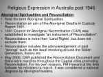 religious expression in australia post 194547