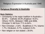 religious expression in australia post 194559