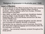 religious expression in australia post 194561