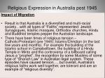 religious expression in australia post 194562