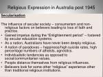 religious expression in australia post 194563