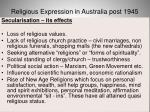 religious expression in australia post 194565