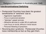 religious expression in australia post 194567