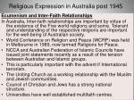 religious expression in australia post 194572