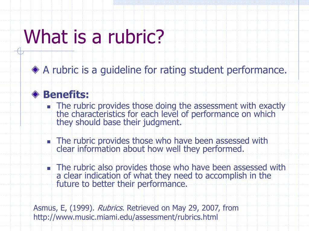 What is a rubric?
