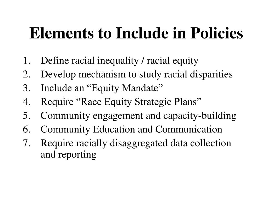 Elements to Include in Policies