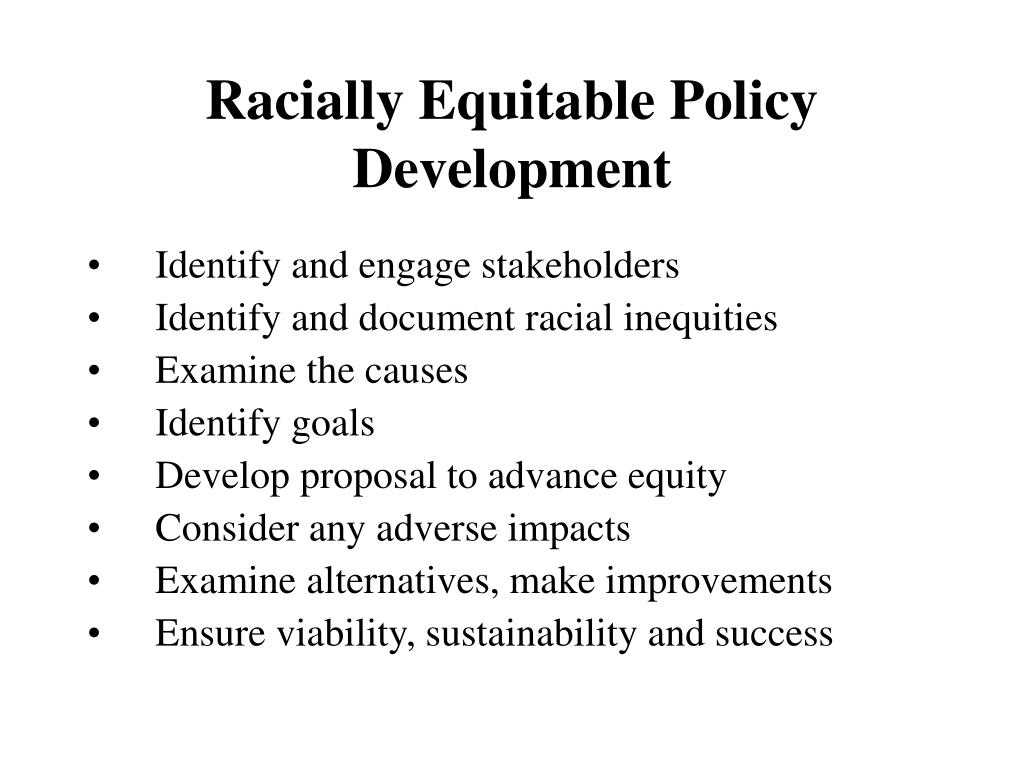 Racially Equitable Policy Development