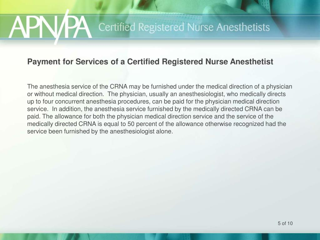 Payment for Services of a Certified Registered Nurse Anesthetist